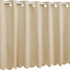 1級遮光 防炎 カフェカーテン 幅125×丈70cm[9.12E+16](10.サハラベージュ, 幅125×丈 70cm)