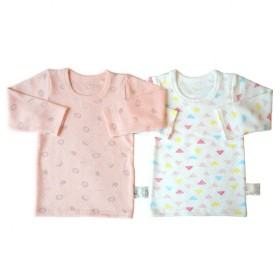 ベビーザらス限定 2P 長袖シャツ肌着 キルト ハリネズミ×三角(ピンク×80cm)