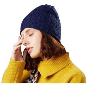 青 ニット ビーニー 帽子 100% ウール ニット あたたかい 冬 キャップ アウトドア スキー 帽子 (Color : Blue)