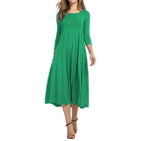 GodeyesW Women's Solid Colored Ruched Long Sleeve Fashion Mid Length Dress Green M