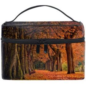 公園の秋化粧ポーチ メイクポーチ コスメポーチ 化粧品収納 小物入れ 軽い 軽量 防水 旅行も便利