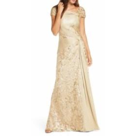 タダシショージ TADASHI SHOJI レディース パーティードレス ワンピース・ドレス Pintuck Wrapped Embroidered Lace Gown Gold