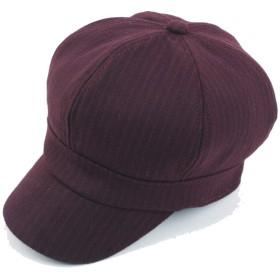 ZiWen Lu 2019ベレー帽キャップ秋冬ウールレディースコットンメンズストライプ八角形帽子厚い暖かい二重層 (色 : ワインレッド, サイズ : 56-58CM)