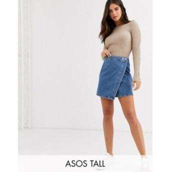 エイソス ASOS Tall レディース スカート デニム ラップスカート asos design tall denim wrap skirt in stonewash blue ブルー