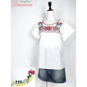レディーストップス古着 フォークロア カラフル メキシカン 花 刺繍 タック入り チュニック プルオーバー 半袖 白 17ljn08m