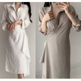 アシンメトリー シャツ ワンピース シンプル 綺麗 長袖 白|cr01766