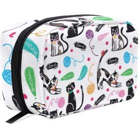 化粧ポーチ 仕切り メイクポーチ レディース ボール 猫柄 動物 メイクボックス 女の子 化粧バッグ 化粧ボックス コスメバッグ 小物ケース おしゃれ かわいい