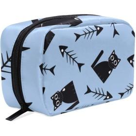 化粧ポーチ 仕切り メイクポーチ レディース 魚 猫柄 動物 メイクボックス 女の子 化粧バッグ 化粧ボックス コスメバッグ 小物ケース おしゃれ かわいい