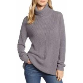 ハロゲン HALOGEN レディース チュニック トップス Oversized Turtleneck Tunic Sweater Grey Heather