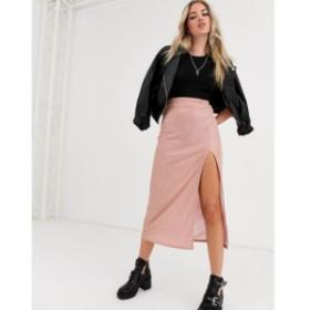 エイソス ASOS DESIGN レディース ひざ丈スカート スリップスカート スカート sparkle bias slip midi skirt with thigh split ピンク