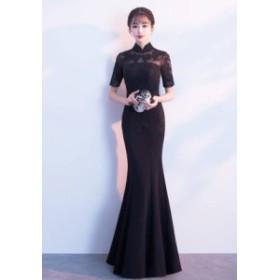 ドレス ロングドレス 黒ドレス マーメイドエレガント結婚式 二次会 パーティードレス 披露宴二次会演奏会司会 刺繍y435