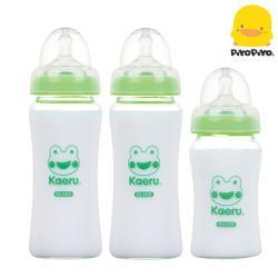 黃色小鴨 Piyo Piyo -哈皮蛙 媽咪乳感寬口徑葫蘆玻璃奶瓶組2+1 (280mlx2+180mlx1)