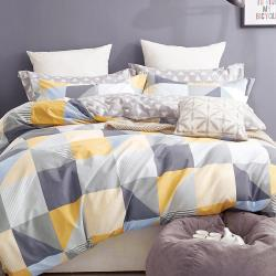 情定巴黎-海派 100%40支絲光精梳純棉加大兩用被+被套床包 1+1超值雙床組-一般/獨立筒床皆適用