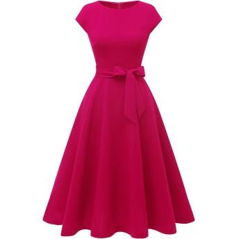 Dresstell(ドレステル) ワンピース レディース 夏 ロングワンピース レトロ ミモレ丈 袖 フレア 結婚式ドレス フォーマル お呼ばれ 二次会 ローズ Lサイズ