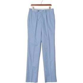 【78%OFF】フロントタブ センタープレス パンツ ブルー 85
