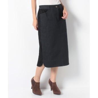 Leilian レリアン 異素材ロングタイトスカート