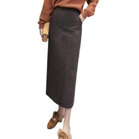 (ロンショップ)R.O.N shop ペンシル 無地 ナロースカート シンプル ミモレ丈 ウエストゴム ひざ下 上品 秋冬 (ダークグレー,M)