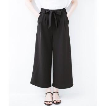 ハコ きれいに見えて実は動きやすい!とにかく便利な短め丈パンツ by Nohea レディース ブラック L 【haco!】