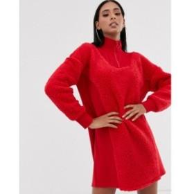 エイソス ASOS DESIGN レディース ワンピース ワンピース・ドレス rib detail zip neck borg sweat dress レッド