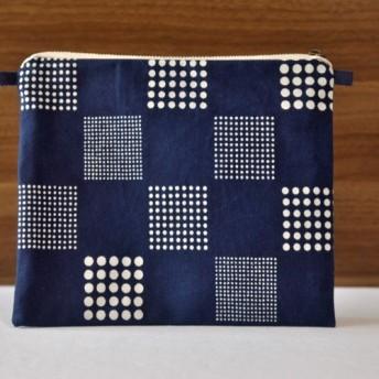 藍染×型染ポーチ(市松)ショルダー用紐あり
