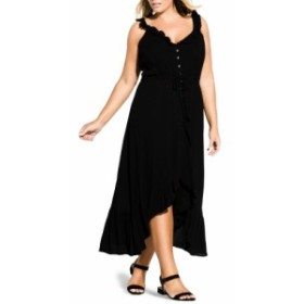 シティーシック CITY CHIC レディース ワンピース マキシ丈 ワンピース・ドレス Ruffle Trim Maxi Dress Black