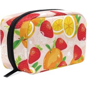 化粧ポーチ 仕切り メイクポーチ メイクボックス レディース 女の子 化粧バッグ 化粧ボックス ポーチ コスメバッグ 小物ケース おしゃれ 学生 かわいい 苺 オレンジ 果物