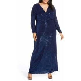 ヴィンス カムート VINCE CAMUTO レディース パーティードレス ワンピース・ドレス Long Sleeve Blouson Gown Navy