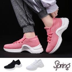 【SPRING】超輕量軟底飛織透氣綁帶造型厚底休閒鞋 (3色任選)