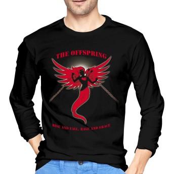 The Offspring XL Tシャツ メンズ 長袖 綿 春秋 無地 メンズティシャツ プルオーバーシャツ ロングTシャツ カットソー カジュアル ファッション トップス カジュアル