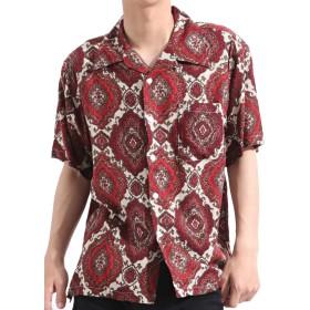 バレッタ Valletta オープンカラーシャツ 半袖 総柄 プリント レーヨン ビッグ ワイド シンプル 夏服 ストリート モード リゾート メンズ C柄 XLサイズ