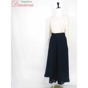 スカート古着 カナダ製 黒 ブラック 無地 シンプル ポリエステル 二重 フレア スカート ロング丈 17lse25gw