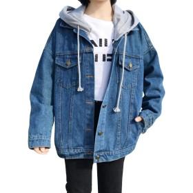(BaLuoTe)コート ジャケット レディース アウター デニム コート ジャケット ゆったり bf風 春 夏 秋 アウター ジージャン フード付き デニムジャケットブルーT3