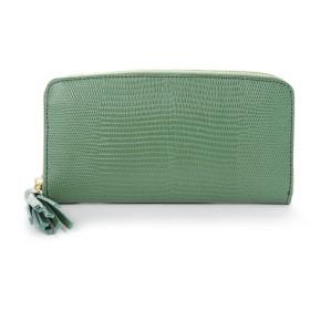 ペルケ perche リザード型押しラウンドファスナー長財布 (グリーン)
