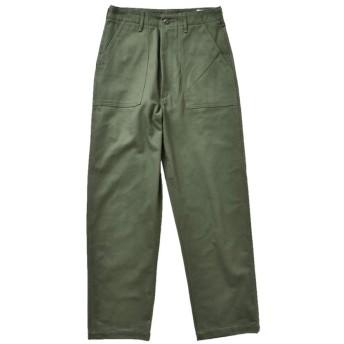 (オアスロウ)or slow オリジナルコットンサテンハイウエストファティーグパンツ 2(M) グリーン(col.16) 00-5042-2-16-green