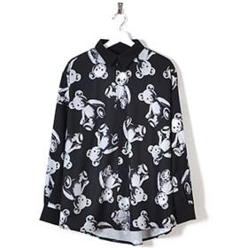 スケルトンテディ総柄プリントシャツ DrugHoney ユニセックス ゴシック パンク 大きいサイズ 黒