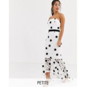 チチロンドン Chi Chi London Petite レディース ワンピース ワンピース・ドレス bandeau lace dress with contrast hem in mono ブラッ