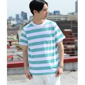 (coen/コーエン)USAコットンボーダークルーネックTシャツ/メンズ KELLY