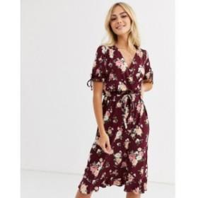 オアシス Oasis レディース ワンピース ラップドレス ワンピース・ドレス wrap dress with tie details in burgundy floral print バーガ