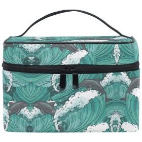 帆ドルフィンアート化粧品袋オーガナイザージッパー化粧バッグポーチトイレタリーケースガールレディース