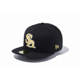 NEW ERA ニューエラ 59FIFTY NPB 福岡ソフトバンクホークス ブラック × ゴールド ホワイトアウトライン ベースボールキャップ キャップ 帽子 メンズ レディース 7 1/2 (59.6cm) 11121929 NEWERA