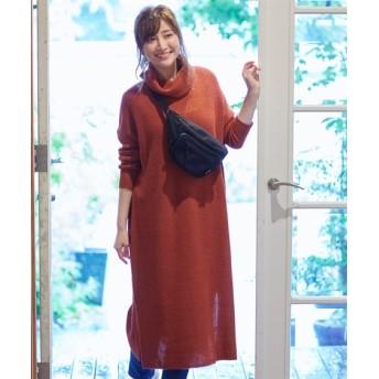 タートルネックロング丈ニットワンピース (ワンピース)Dress