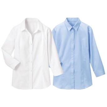 【レディース】 形態安定2枚組レギュラーカラーシャツ(七分袖)(洗濯機OK) ■カラー:ホワイト+ブルー ■サイズ:S,M,L,LL,3L