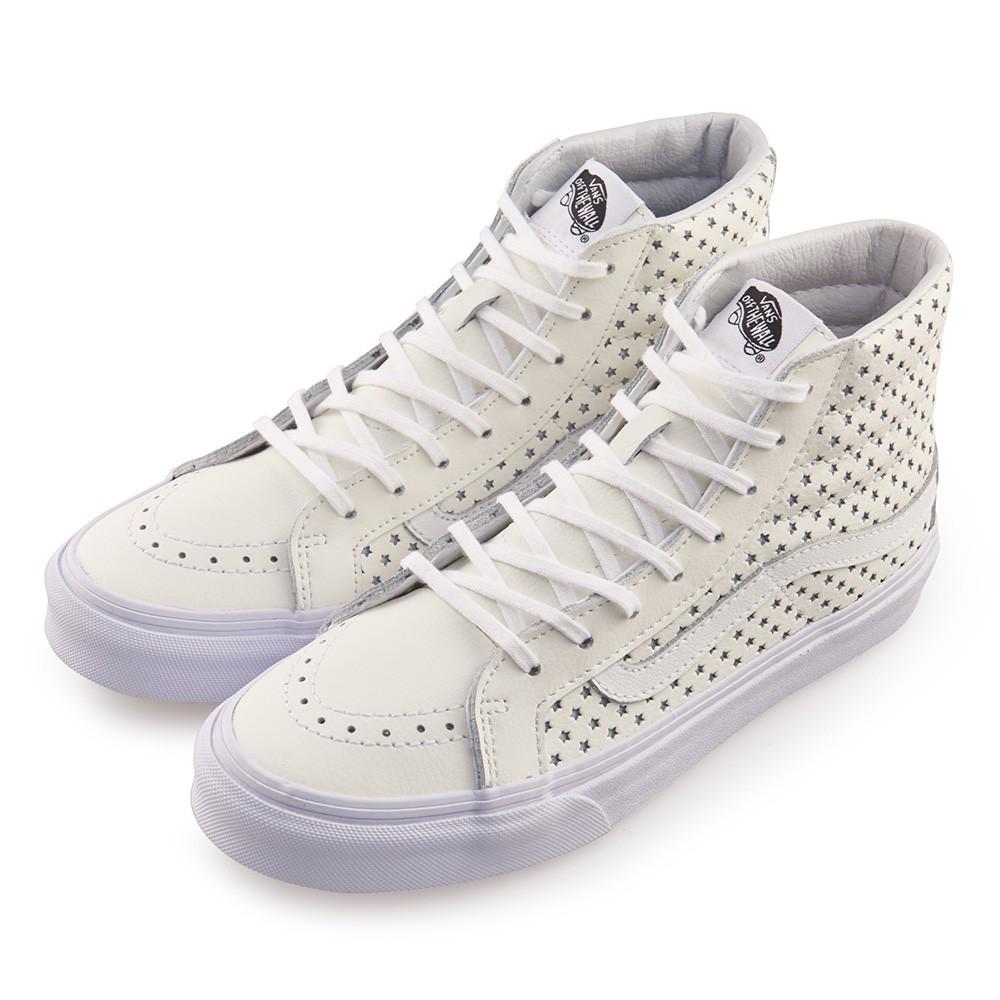 VANS SK8-Hi 側邊星星8孔扁線高筒休閒鞋-白色