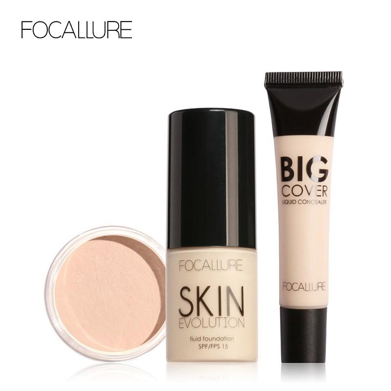 FOCALLURE菲鹿兒 面部基礎化妝品組合 粉底液散粉遮瑕膏3件套 裸妝日常化妝品套裝