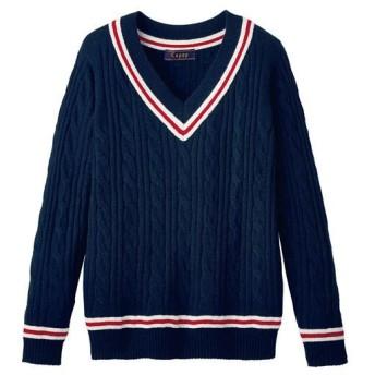 ライン入りVネックセーター(スクール・制服) ■カラー:ネイビー ■サイズ:S,M,L