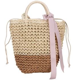 ストロー不織布バッグ手作りの籐のバッグ女性の夏のビーチは、ソリッドbolsos MUJER、カーキショルダーバッグ手織りワイルドチェーンメッセンジャーバッグ弓