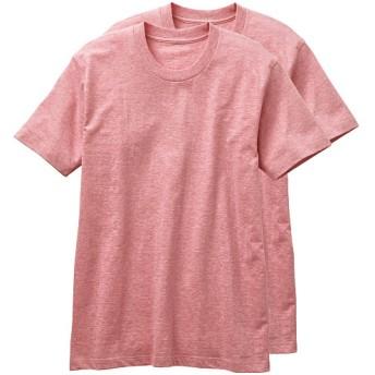 【メンズ】 肌触りがサラッと心地よい・男の綿100%半袖クルーネックTシャツ・2枚組 ■カラー:レッド系 ■サイズ:5L,L,LL,3L,S,M