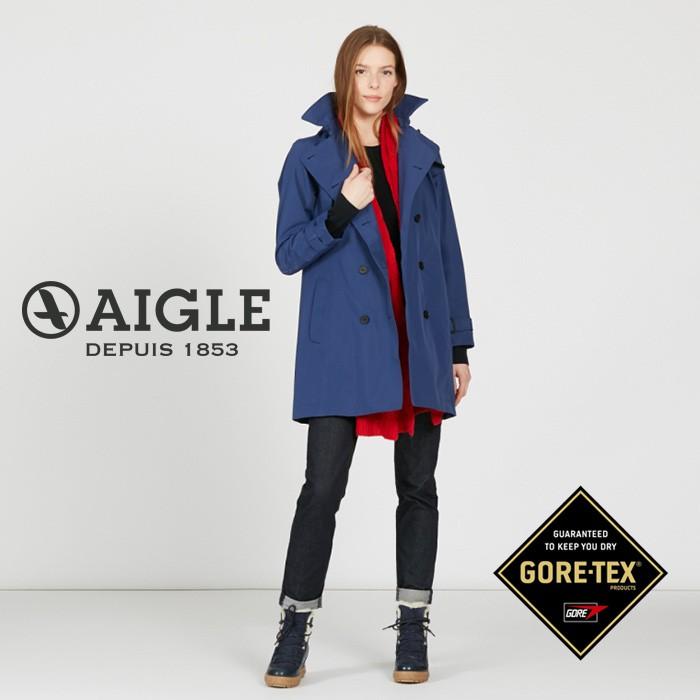 【AIGLE 法國】GAWA GORE-TEX 防水透氣風衣 防水大衣 女款 海軍藍 (AG-8F204-A052)