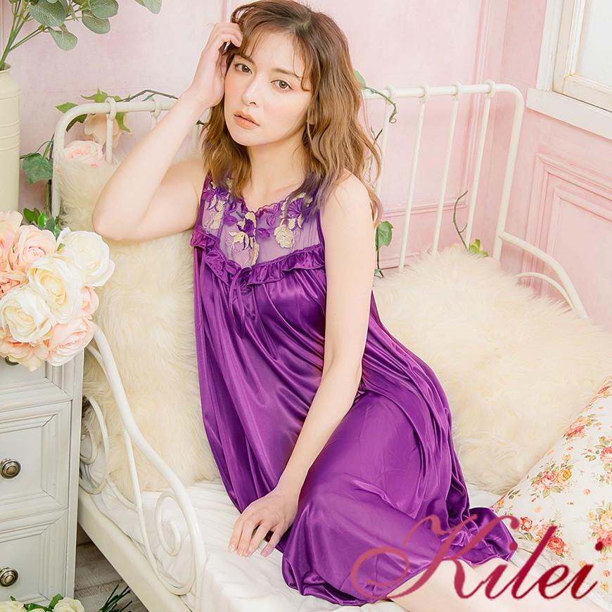 【Kilei】蝶結花蕾絲冰絲網紗無袖連身裙睡衣XA3909-03(魅力深紫)全尺碼