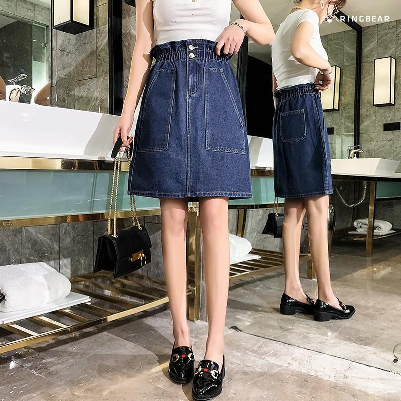 眼圈熊 中大尺碼 休閒個性高腰鬆緊大口袋造型牛仔A字短裙(藍M-5L)-Q107